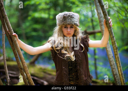 A young woman modeling for a Fantasy makeover 'game of thrones' style outdoors photography : Goddess / Priestess - Stock Photo
