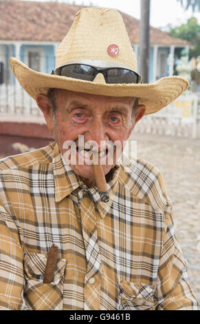 Trinidad Cuba old man on street of second oldest city in Cuba  in colonial town with hat and donkey Model released, - Stock Photo