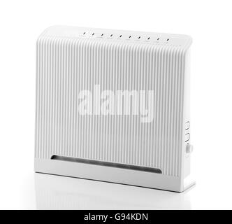 ADSL Wireless Router Isolated on White Background - Stock Photo