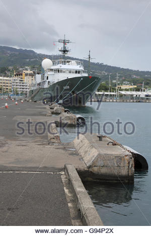 the harbour in downtown papeete on Tahiti - Stock Photo