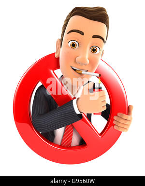 3d businessman smoking cigarette and surrounded by a forbidden sign, illustration with isolated white background - Stock Photo