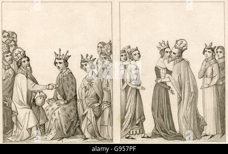 Antique engraving, circa 1860, depicting the visit of Charles IV, Holy Roman Emperor to the Queen of France Joanna - Stock Photo