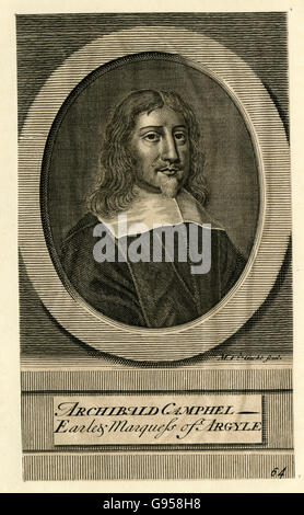 Antique engraving, circa 1700, of Archibald Campbell, 1st Marquess of Argyll, 8th Earl of Argyll. SOURCE: ORIGINAL - Stock Photo
