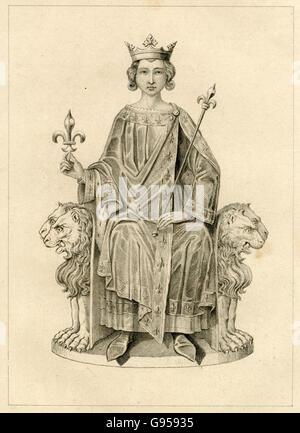 Antique engraving, circa 1880, of Philip IV of France. SOURCE: ORIGINAL ENGRAVING. - Stock Photo