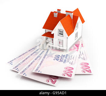 Turkish lira banknotes under house. Mortgage concept. 3d rendered illustration. - Stock Photo