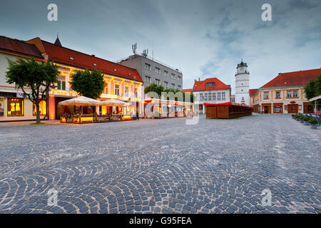 Square in the old town of Trencin, Slovakia. - Stock Photo