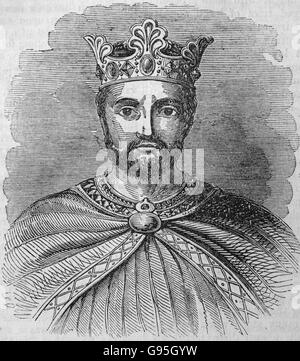 Portrait of Richard I, taken from his tomb at Fontervrault. From a mid 19th century engraving. - Stock Photo