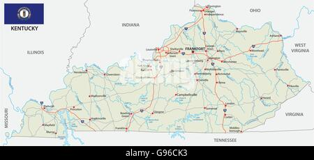 Cleveland On Us Map Road Map With Flag Of The Us State Kentucky Stock Po
