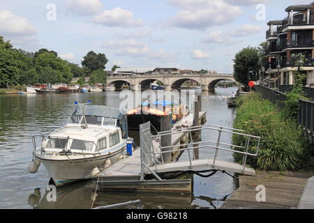 Riverside Walk and Kingston Bridge, Charter Quay, Kingston upon Thames, London, England, Great Britain, United Kingdom - Stock Photo