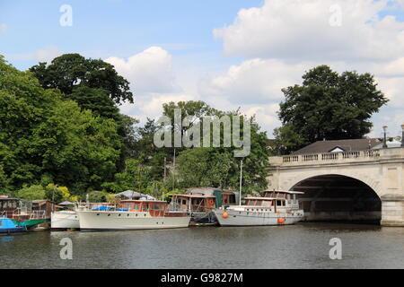 Residential moorings, Kingston Bridge, Kingston upon Thames, London, England, Great Britain, United Kingdom, UK, - Stock Photo