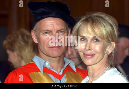 Singer-songwriter Sting stands with his wife Trudie Styler after recieving an honorary doctorate of music from Newcastle University.