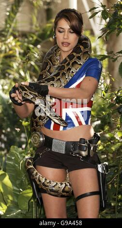 Karima Adebibe, the latest embodiment of video game heroine Lara Croft, during a photocall for the new game 'Lara - Stock Photo