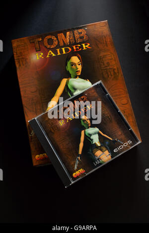 The original Tomb Raider PC game from 1996 an action-adventure video game developed by Core Design - Stock Photo