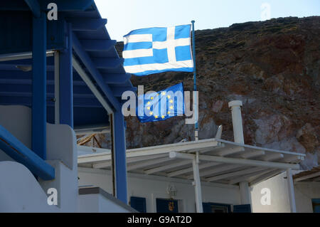 Greek and European community flags flying together - Stock Photo