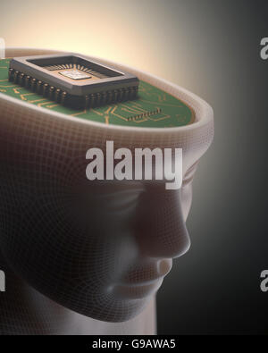 Microchip in place of the human brain. Concept of science and technology. - Stock Photo
