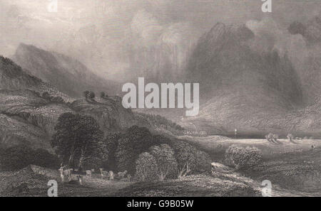Loch Goil, from the head of the lake. Argyllshire. Scotland. MCCULLOCH, 1838 - Stock Photo