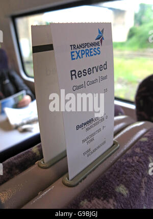 Transpennine Express Reservation,on train to York from Liverpool,England,UK - Stock Photo