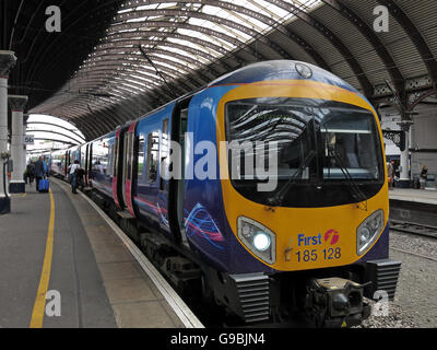 First Trans Pennine 185128 Class 185 at York Railway Station - Stock Photo
