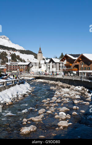 Shops and hotels in the town center, Lech River, Lech am Arlberg, Vorarlberg, Austria, Europe - Stock Photo
