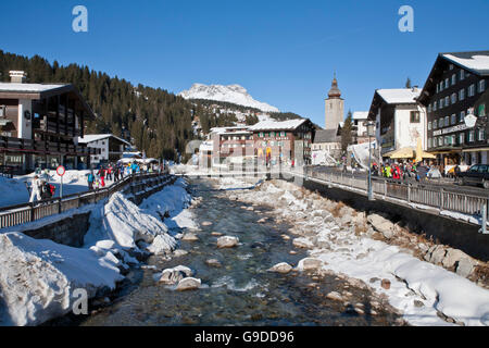 Hotels in the town centre, Lech River, Lech am Arlberg, Vorarlberg, Austria, Europe - Stock Photo