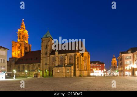 Kilianskirche church in the evening, Kiliansplatz square, in the back the Hafenmarktturm tower, Heilbronn, Baden - Stock Photo