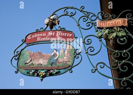 Wine bar and restaurant Caveau St. Pierre, Krutenau, Petite Venise, Colmar, Alsace, France, Europe - Stock Photo