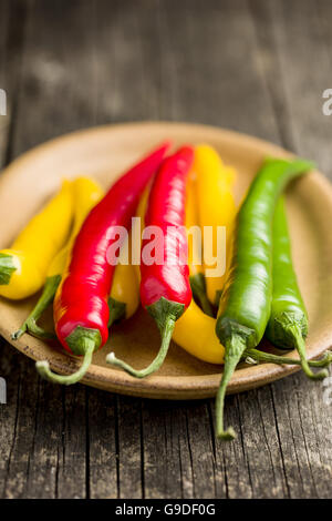 Different colors chilli peppers with knife and cutting board  isolated on white background. - Stock Photo