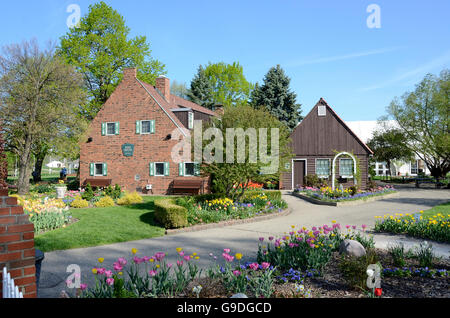 Buildings in Holland, Michigan during the tulip time festival - Stock Photo
