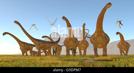 Two Dracorex walk with a herd of Malawisaurus dinosaurs for safety as a flock of Pteranodon reptiles fly over. - Stock Photo