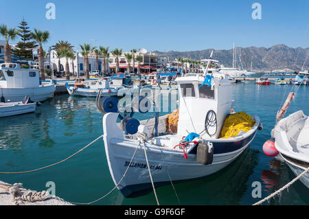 Traditional fishing boats in harbour, Kardamena, Kos (Cos), The Dodecanese, South Aegean Region, Greece - Stock Photo