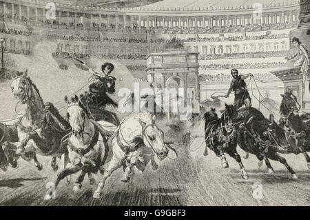 A Chariot Race in the Roman Colosseum - Stock Photo