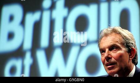 British Prime Minister Tony Blair addresses the Trades Union Congress in Brighton. - Stock Photo