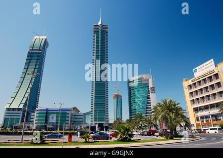 Bahrain Financial Harbour BFH development in Manama, the modern capital of Bahrain. Commercial East and West towers - Stock Photo