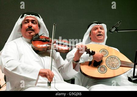 Musicians of the Mohammed bin Faris Ensemble Band play traditional sawt music in Al Khalifa Centre in Muhurraq district, - Stock Photo