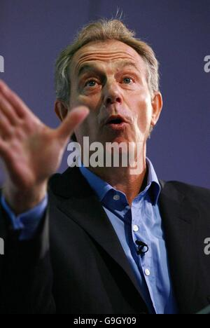 Britain's Prime Minister Tony Blair addresses the thinktank Progress conference in central London. - Stock Photo