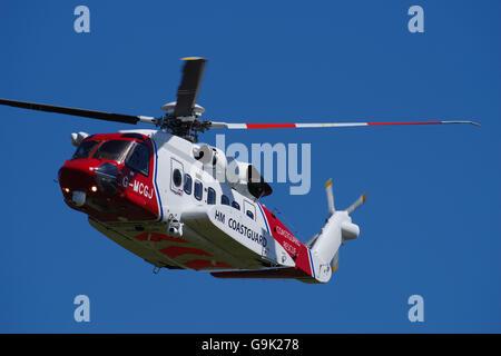 UK Coastguard Sikorski S-92 Helicopter - Stock Photo