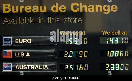 View of currency exchange rates displayed on an electronic board outside Marks and Spencer supermarket on Kensington - Stock Photo