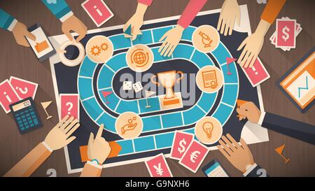Business people playing together with a board game with business concept, strategy and competition concept - Stock Photo
