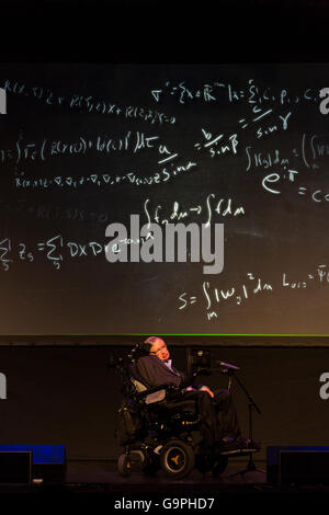 Professor Stephen Hawking speaking at the Starmus Festival 2016 in the Piramide de Arona, Las Americas, Tenerife, - Stock Photo