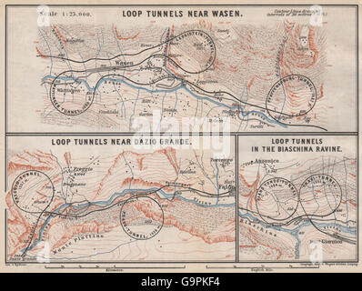 ST GOTTHARD RAILWAY SPIRAL/LOOP TUNNELS Wassen Freggio Prato Biaschina, 1889 map - Stock Photo