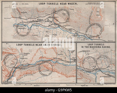 ST GOTTHARD RAILWAY SPIRAL/LOOP TUNNELS Wassen Freggio Prato Biaschina, 1897 map - Stock Photo