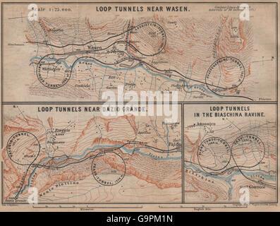 ST GOTTHARD RAILWAY SPIRAL/LOOP TUNNELS Wassen Freggio Prato Biaschina, 1899 map - Stock Photo