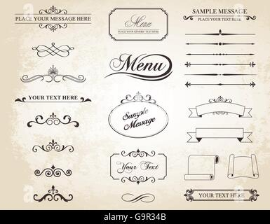 This image is a vector set that contains calligraphic elements, borders, page dividers, page decoration and ornaments. - Stock Photo