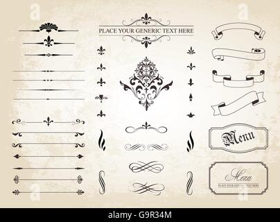 This image is a vector file representing a set of  Vintage Decorative Ornament Borders and Page Dividers. - Stock Photo