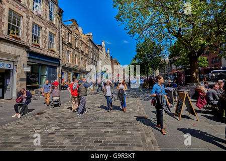 The Grassmarket is a historic market place and an events space in the Old Town of Edinburgh, Scotland - Stock Photo