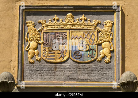 Coat of arms at the moated castle Dyck, Jüchen, North Rhine-Westphalia, Germany, Europe - Stock Photo