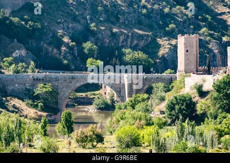 Puente de San Martín in Toledo Spain - Stock Photo