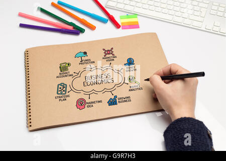 Business Economics chart with keywords and sketch icons - Stock Photo