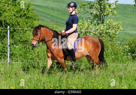 A Mature Woman In Riding Gear With Tack Happily Stands