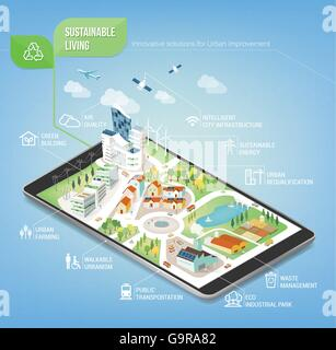 Sustainable city on a digital touch screen tablet with icons set on architecture and environmental care - Stock Photo
